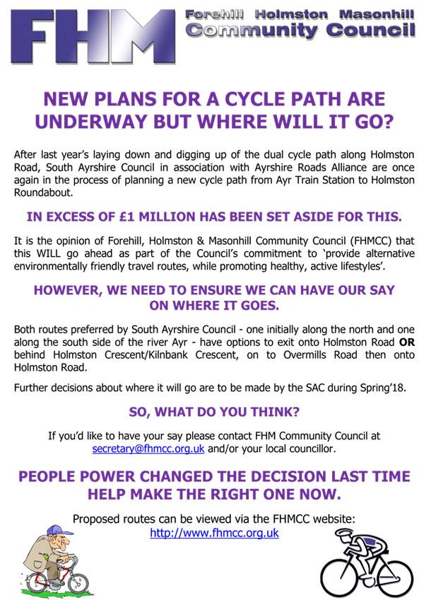 Cycle Lane Proposal Forehill Holmston And Masonhill Community Council